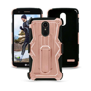 Heavy Duty Shockproof Extreme Protective Cover With Holster - Black/ Rose Gold for LG Stylus 3/ LG Stylo 3 for LG K10 Pro LGM400DF - fommystore