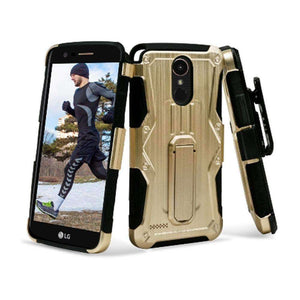 Heavy Duty Shockproof Extreme Protective Cover With Holster - Black/ Gold for LG Stylus 3/ LG Stylo 3 for LG K10 Pro LGM400DF - fommystore