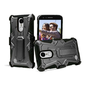 Heavy Duty Shockproof Extreme Protective Cover With Holster - Black/ Black for LG LV3/ LG K8 2017/ LG Aristo MS210 for LG Aristo MS210 - fommystore