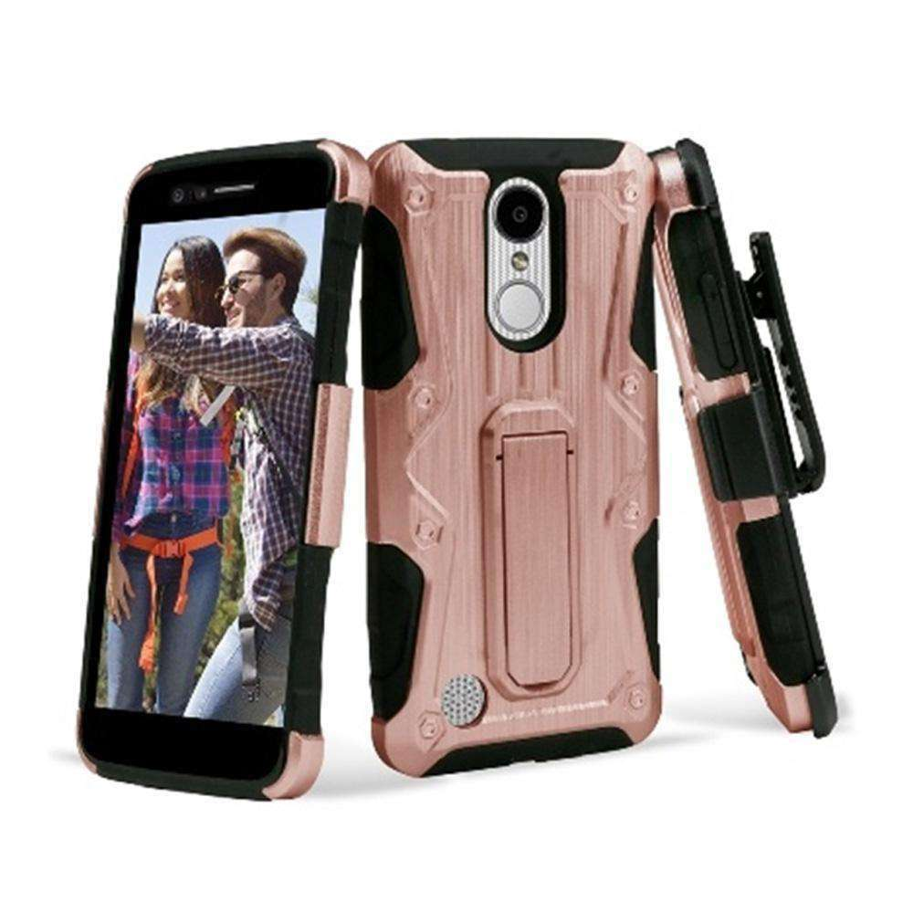 Heavy Duty Shockproof Extreme Protective Cover With Holster - Black/ Rose Gold for LG LV3/ LG K8 2017/ LG Aristo MS210 for LG Aristo MS210 - fommystore
