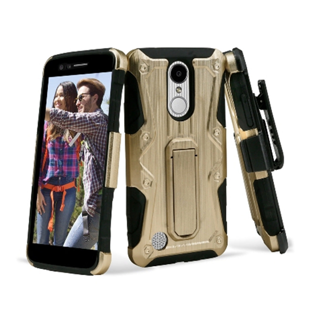 Heavy Duty Shockproof Extreme Protective Cover With Holster - Black/ Gold for LG LV3/ LG K8 2017/ LG Aristo MS210 for LG Aristo MS210 - fommystore