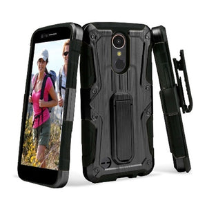 Heavy Duty Shockproof Extreme Protective Cover With Holster - Black/ Black for LG Harmony M257 - fommystore