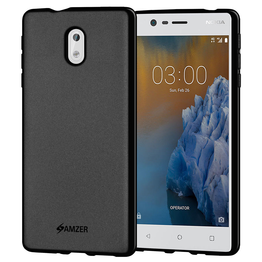 AMZER Pudding Soft TPU Skin Case for Nokia 3 - Black