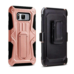 Heavy Duty Shockproof Extreme Protective Cover With Holster - Black/ Rose Gold for Samsung Galaxy S8 Plus for Samsung Galaxy S8 Plus - fommystore
