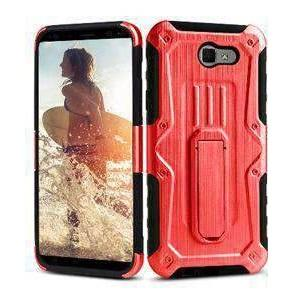 Heavy Duty Shockproof Extreme Protective Cover With Holster - Black/ Red for Samsung Galaxy J7 Perx for Samsung Galaxy Halo SM-J727A - fommystore
