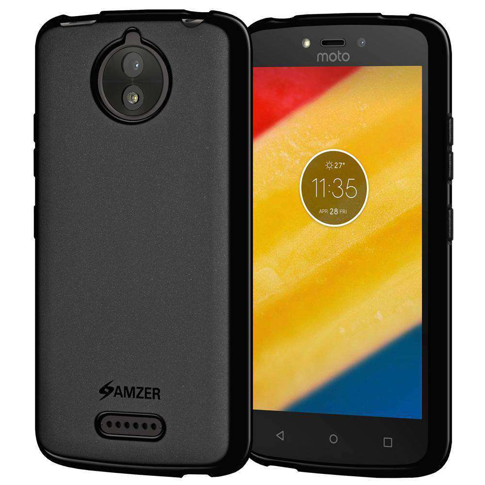 AMZER Pudding Soft TPU Skin Case for Motorola Moto C Plus - Black - fommystore