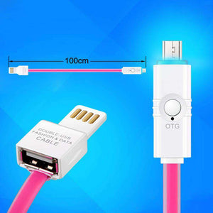 Micro USB OTG Sync Jelly Flat Charging Cable With Double Color LED Indicator (1M/3.3ft) - Pink - fommystore