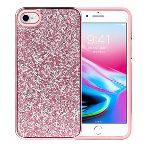 Rhinestone Diamond Platinum Collection Hybrid Bumper Case for  iPhone 7, iPhone SE 2020