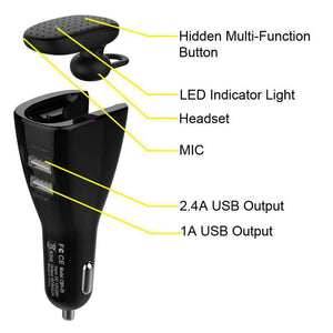 CBH-05 Bluetooth Headset with Dual USB Port Car Charger - fommystore