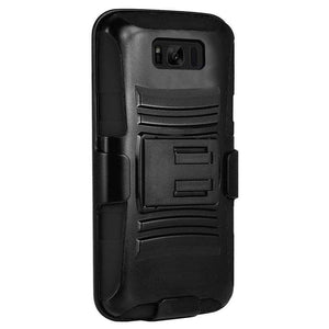 Premium Hybrid Kickstand Case with Holster - Black/ Black for Samsung Galaxy S8 - fommystore