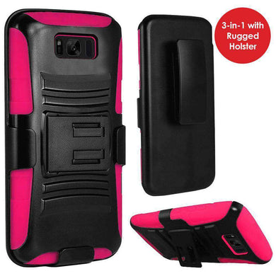Rugged TUFF Hybrid Armor Hard Defender Case with Holster - Black/ Hot Pink for Samsung Galaxy S8 - fommystore