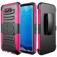 Load image into Gallery viewer, Rugged TUFF Hybrid Armor Hard Defender Case with Holster - Black/ Hot Pink for Samsung Galaxy S8 - fommystore