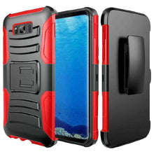 Load image into Gallery viewer, Rugged TUFF Hybrid Armor Hard Defender Case with Holster - Black/ Red for Samsung Galaxy S8 - fommystore