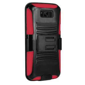 Rugged TUFF Hybrid Armor Hard Defender Case with Holster - Black/ Red for Samsung Galaxy S8 - fommystore