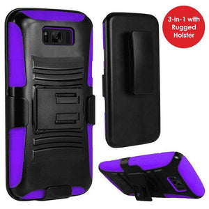 Rugged TUFF Hybrid Armor Hard Defender Case with Holster - Black/ Dark Purple for Samsung Galaxy S8 Plus - fommystore
