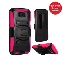 Load image into Gallery viewer, Hybrid Dual Layer Armor Case with Holster for Samsung Galaxy S8 - Black/Hot Pink - fommystore