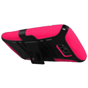 Hybrid Dual Layer Armor Case with Holster for Samsung Galaxy S8 - Black/Hot Pink - fommystore
