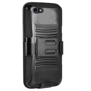 Rugged TUFF Hybrid Armor Hard Defender Case with Holster - Black/ Black for Alcatel A50 - fommystore