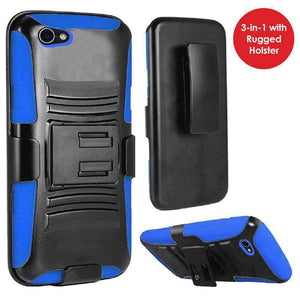 Rugged TUFF Hybrid Armor Hard Defender Case with Holster - Black/ Blue for Alcatel A50 - fommystore