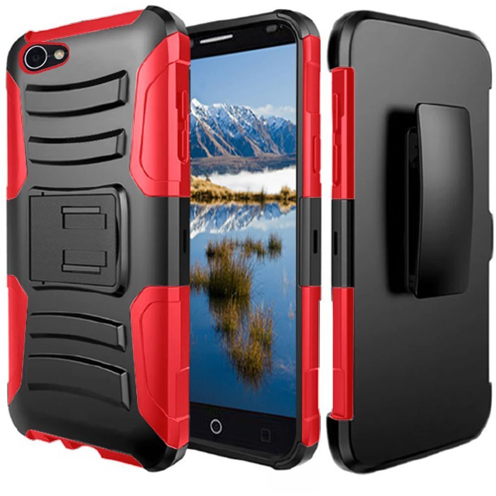 Rugged TUFF Hybrid Armor Hard Defender Case with Holster - Black/ Red for Alcatel A50 - fommystore