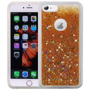 Hybrid Quicksand with Glitter Fused Flexible TPU Case - Gold for iPhone 6 Plus/ 6s Plus for iPhone 6 Plus - fommystore