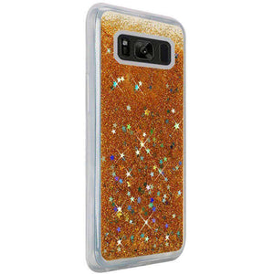 Hybrid Quicksand with Glitter Fused Flexible TPU Case - Gold for Samsung Galaxy S8 Plus SM-G955U for Samsung Galaxy S8 Plus - fommystore