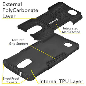 AMZER Shockproof Warrior Hybrid Case for LG K10 2017/Harmony M257 - Black/Black - fommystore