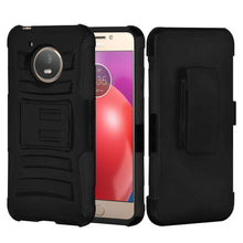 Load image into Gallery viewer, Rugged TUFF Hybrid Armor Hard Defender Case with Holster - Black/ Black for Motorola Moto E4 - fommystore