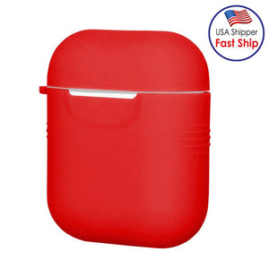 Silicone Skin Jelly red Case With Airpod Strap