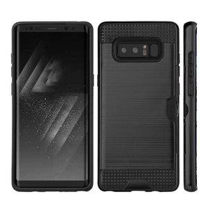 Hybrid Go Case with Credit Card Holder Slot for Samsung Galaxy Note8 SM-N950U - Black/Black - fommystore