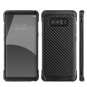 Hybrid Carbon Case with Carbon Fibre Design And Reinforced Hard Bumper - Black/ Black for Samsung Galaxy Note8 SM-N950U - fommystore