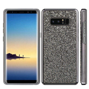 Hybrid Diamond Platinum Collection Bumper Case with Electroplated Frame - Black for Samsung Galaxy Note8 SM-N950U - fommystore
