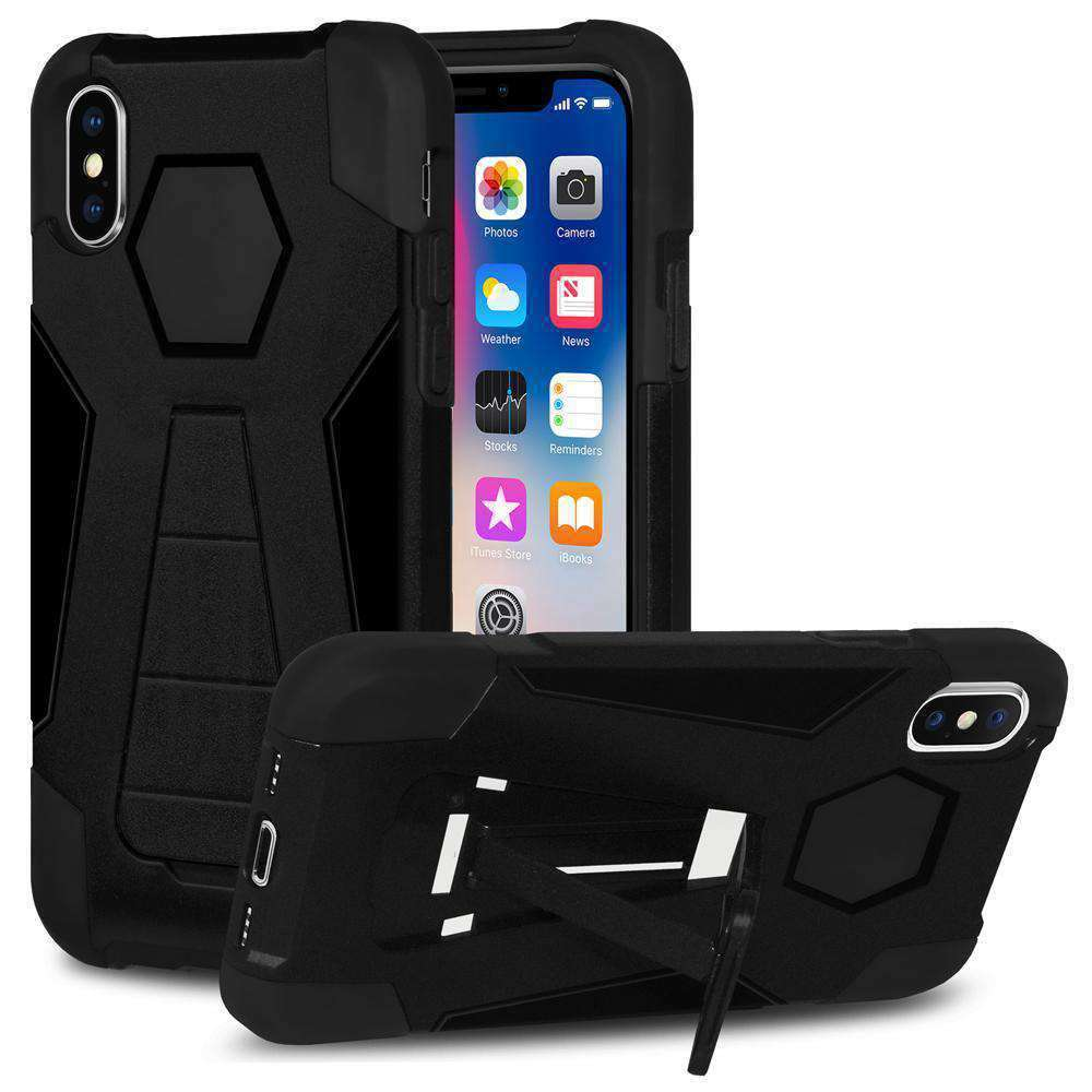AMZER Dual Layer Hybrid KickStand Case for iPhone X - Black/Black - fommystore