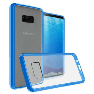 Premium Slim Clear Transparent Hard PC TPU Hybrid Bumper Case - Clear/ Blue for Samsung Galaxy Note8 SM-N950U - fommystore
