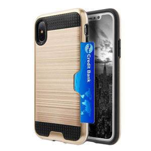 Hybrid Go Case with Credit Card Holder Slot - Black/ Gold for iPhone X/ iPhone Xs - fommystore