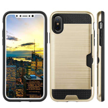 Load image into Gallery viewer, Hybrid Go Case with Credit Card Holder Slot - Black/ Gold for iPhone X - fommystore
