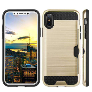 Hybrid Go Case with Credit Card Holder Slot - Black/ Gold for iPhone X - fommystore