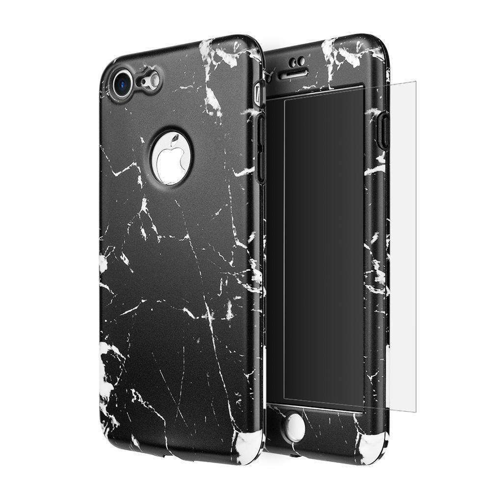 Full Protection TPU Marble Case With Tempered Glass Screen Protector for iPhone 7 - fommystore