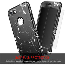 Load image into Gallery viewer, Full Protection TPU Marble Case With Tempered Glass Screen Protector for iPhone 7 - fommystore