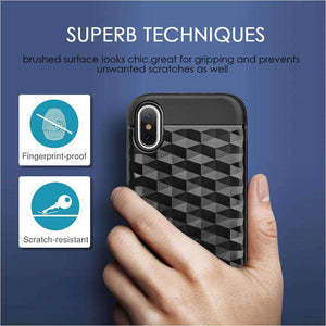 Hybrid Diamond Wave TPU Case with Frame - Black/ Black for iPhone X/ iPhone Xs - fommystore