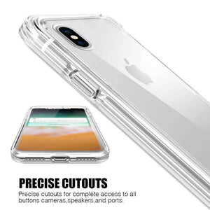 Hybrid TPU Case with Bumper- Clear/ Clear for iPhone X/ iPhone Xs - fommystore