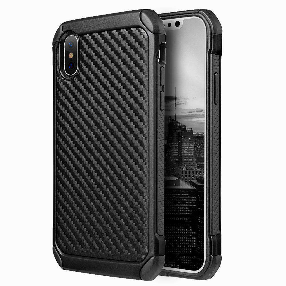 Hybrid Carbon Fibre Case And Reinforced Hard Bumper for iPhone X/iPhone Xs - Black/ Black - fommystore