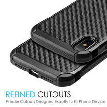 Load image into Gallery viewer, Hybrid Carbon Fibre Case And Reinforced Hard Bumper for iPhone X/iPhone Xs - Black/ Black - fommystore