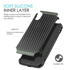 Hybrid Carbon Fibre Case And Reinforced Hard Bumper for iPhone X/iPhone Xs