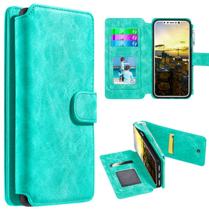 Leather Flip Wallet With Card Slot and Detachable Back Case for iPhone X/iPhone Xs - fommystore