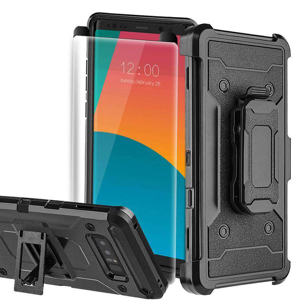 Hybrid Shockproof Holster Case with Tempered Glass 3D Curved Screen Protector - Black for Samsung Galaxy Note8 SM-N950U - fommystore