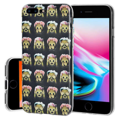 Protective Cover Soft Shockproof TPU Case See Speak Hear No Evil Monkeys for iPhone 8 Plus - Clear - fommystore