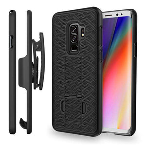 AMZER Shellster Hard Case  Belt Clip Holster for Samsung Galaxy S9 Plus - Black - fommystore