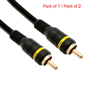 Male to Male Composite Video RCA Cable With Gold Plated Connectors - Black - fommystore