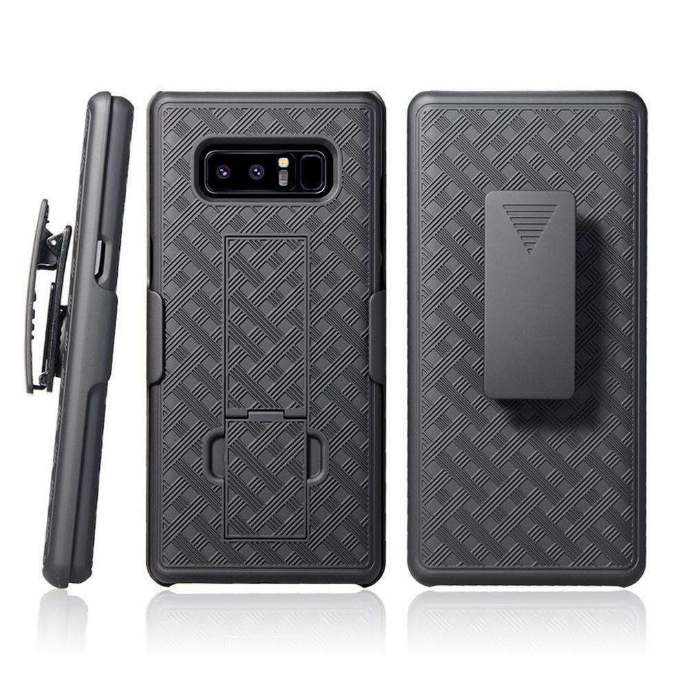 AMZER Shellster Hard Case  Belt Clip Holster for Samsung Galaxy Note8 - Black - fommystore